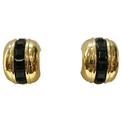 1980s Givenchy Gold & Black Earrings