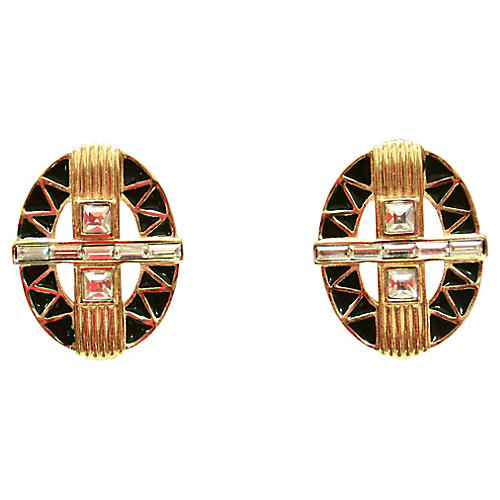 1980s Givenchy Deco-Style Earrings