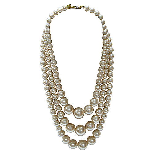 Triple-Strand Graduated Pearl Necklace