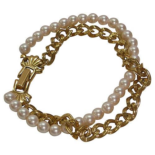 Double-Strand Faux-Pearl Chain Bracelet