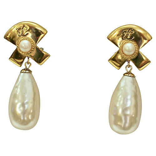 Karl Lagerfeld Baroque Pearl Earrings