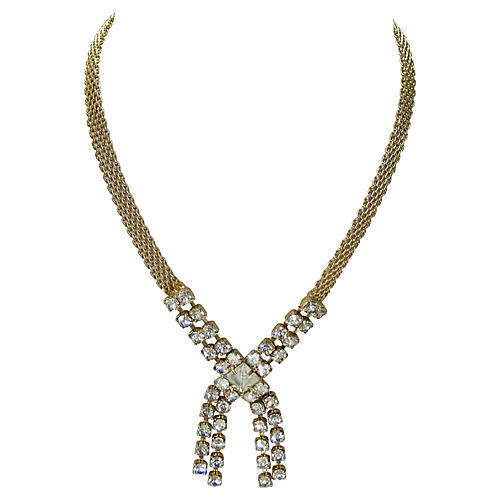 1960s Gold & Crystal Necklace