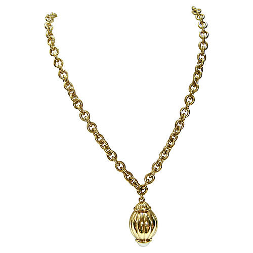 1980s Givenchy Gold Pearl Orb Necklace