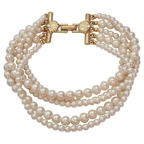 1970s Five Strand Pearl Bracelet