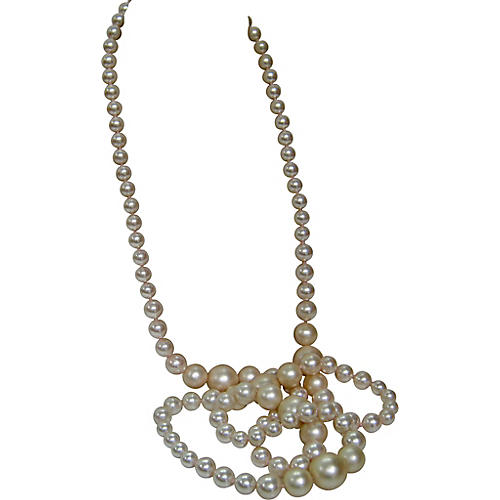 1970s Graduated Opera Pearl Necklace