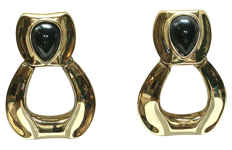 1980s Givenchy Cabochon Knocker Earrings