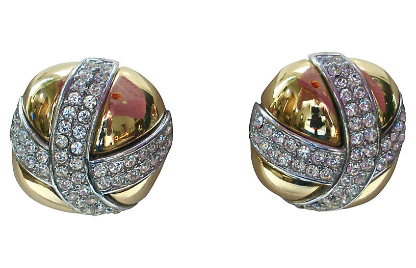 1980s Gold-Plated Crystal Kiss Earrings