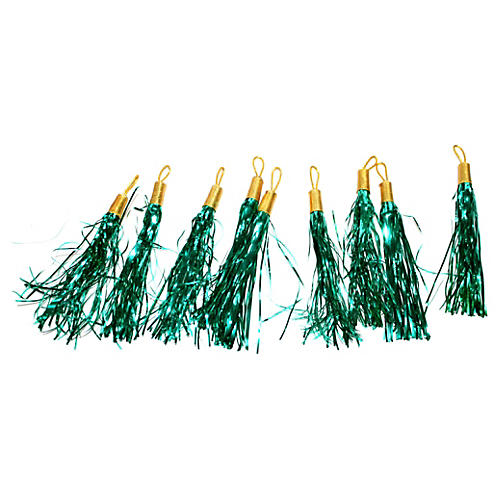 Aqua Tinsel Tassel Ornaments, S/9