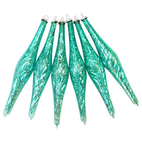 Tinsel Teardrop Ornaments, S/6
