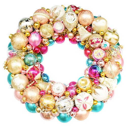 Pink & Aqua Ornament Wreath