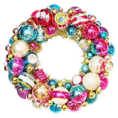 Jewel-Toned Ornament Wreath