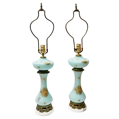 Hollywood Regency Marble Lamps, S/2