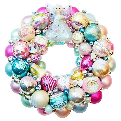 Pink Angel Ornament Wreath
