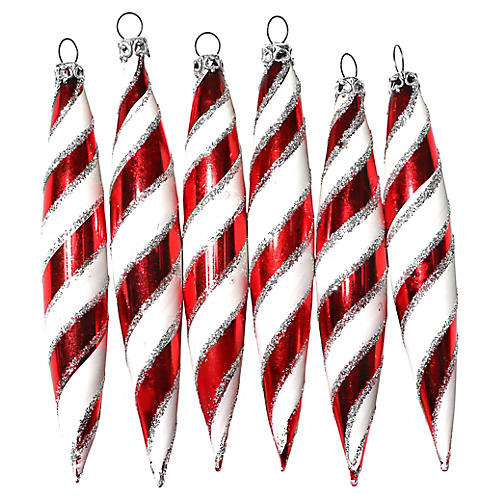 Red & White Striped Teardrops, S/6