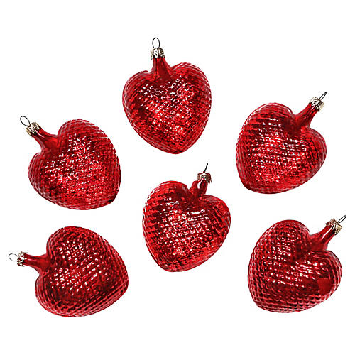 Glass Heart Ornaments, S/6