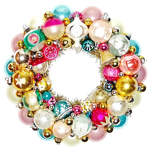 Pink & Aqua Ornament Wreath