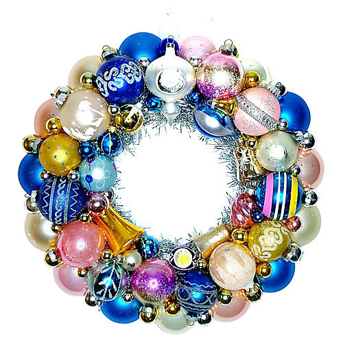 Blue Glass Ornament Wreath