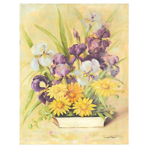Irises & Daisies Still LIfe
