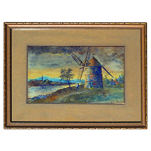 Inlet and Windmill by William Alexander