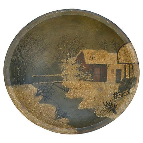 Folk Art Winter Cabin Bowl