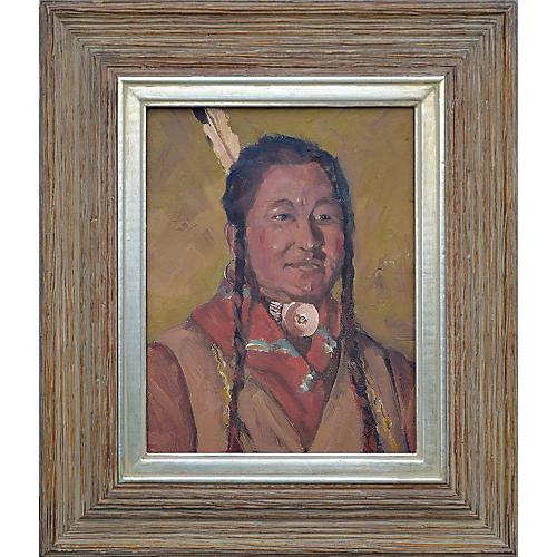 Native American Man w/ Necklace Portrait