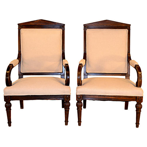 19th-C. French Walnut Armchairs, Pair
