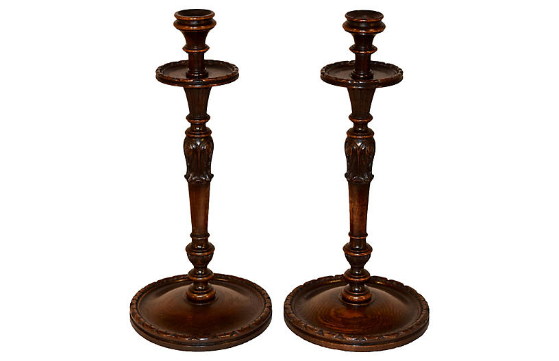 19th-C. Carved Candlesticks, Pair