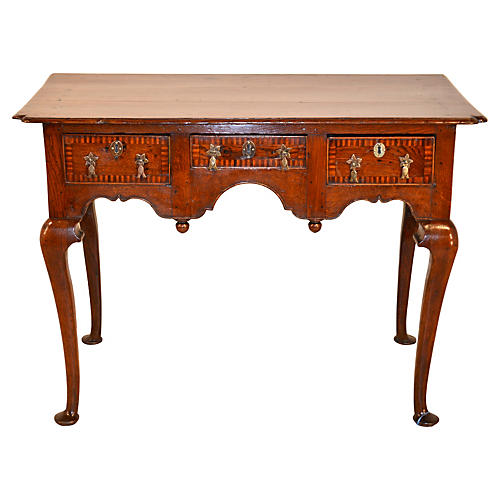 18th-C. English Oak Inlaid Lowboy