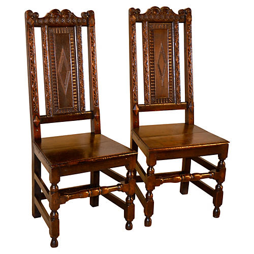 English Oak Hall Chairs, C. 1720, Pair