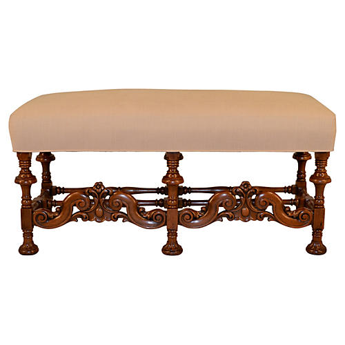 19th-C. English Walnut Bench