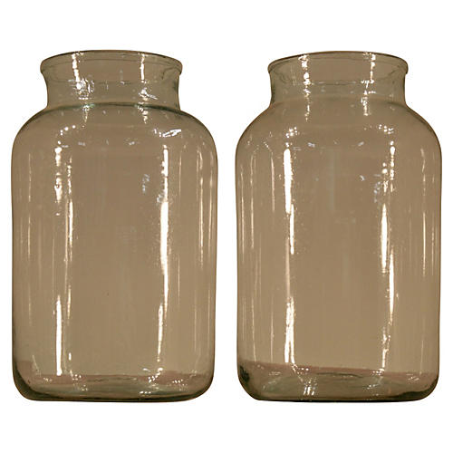 Handblown Glass Jars, S/2