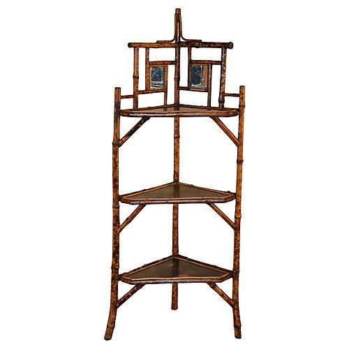 19th-C. French Bamboo Corner Shelf