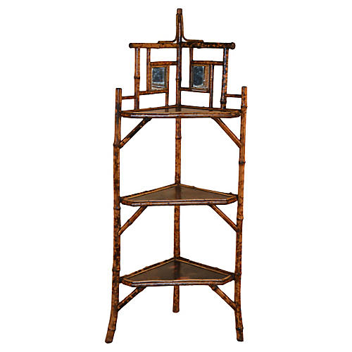 19th-C. French Bamboo Corner Shelf
