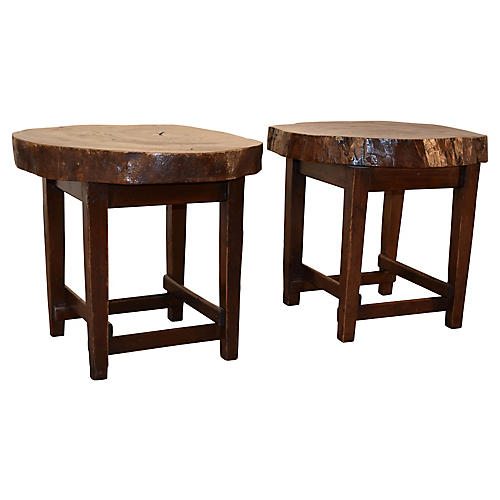 1950s Walnut Tables, S/2