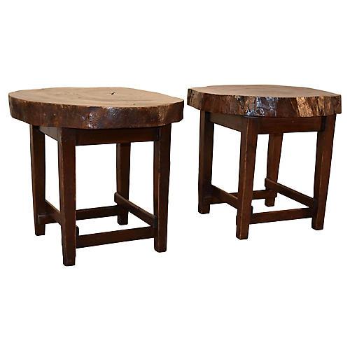 1950s Walnut Tables, S/2