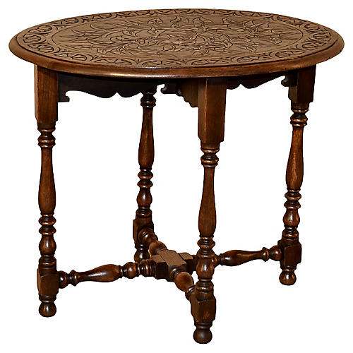19th-C. English Oak Oval Side Table