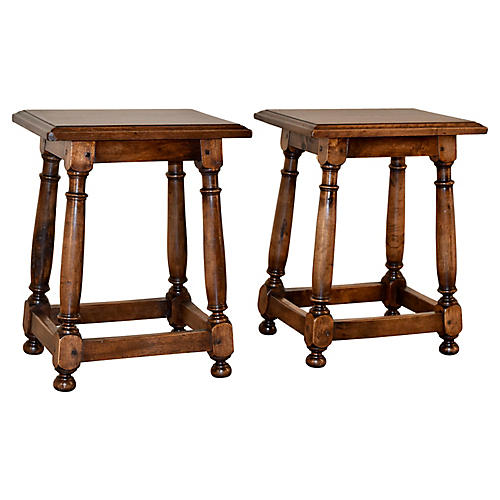 19th-C. Walnut Stools, Pair