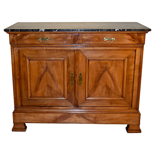 19th-c. Marble Top Buffet