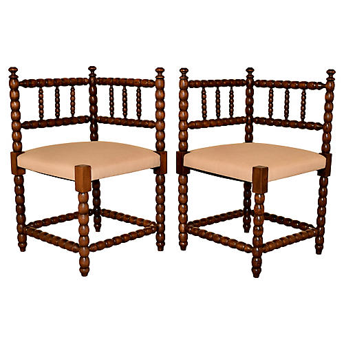 Pair of 19th-C. Corner Chairs