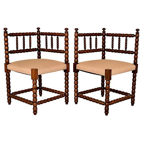 Pair of 19th-C. Corner Chairs