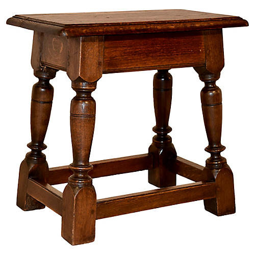 19th-C. Oak Joint Stool