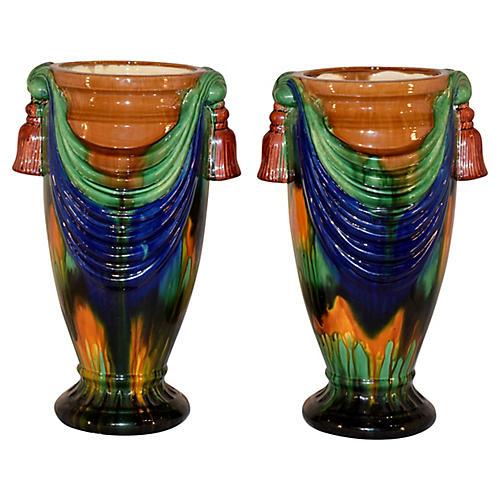Midcentury Majolica Vases, Pair