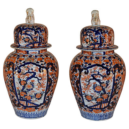 19th-C. Imari Jars, Pair