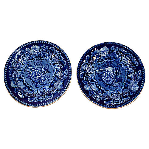 Early-19th-C. Shell Plates, S/2