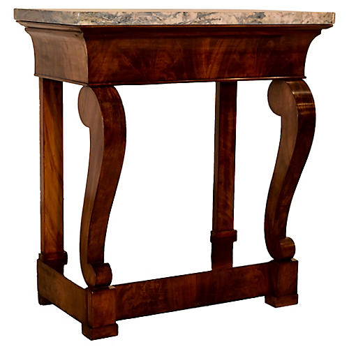 19th-C. Small Marble Top Console