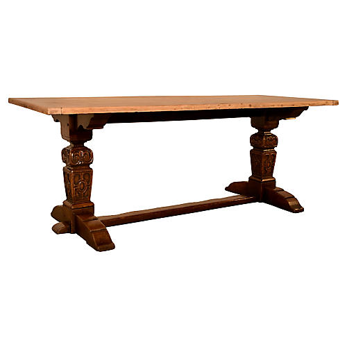 Late 19th-C. Oak Trestle Table