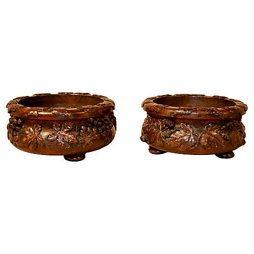 19th-C. Pair of Carved Wine Coasters