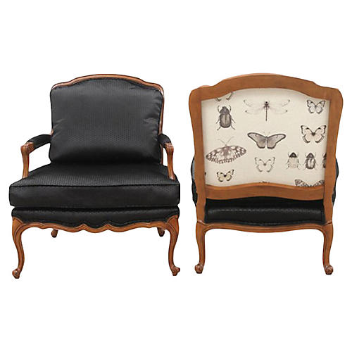 Louis XV Style French Armchairs, a Pair