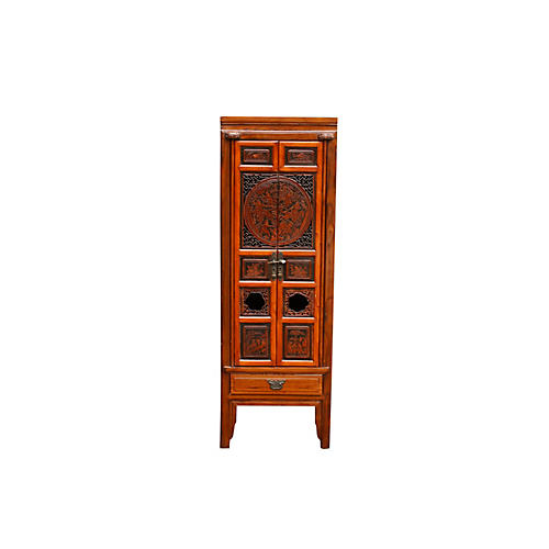 Tall Ornately Carved Asian Bar Cabinet