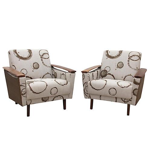 Mid Century Modern Danish Chairs, Pair